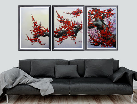Cherry blossom wall art, Japan cherry blossom art, red cherry blossom painting -  - 1