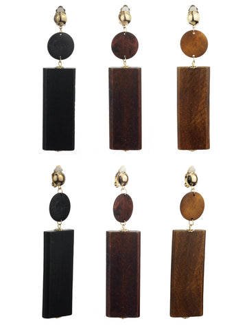 Women's Wood Geometric Round and Rectangular Clip On Earrings Set, Black/Brown/Light Brown