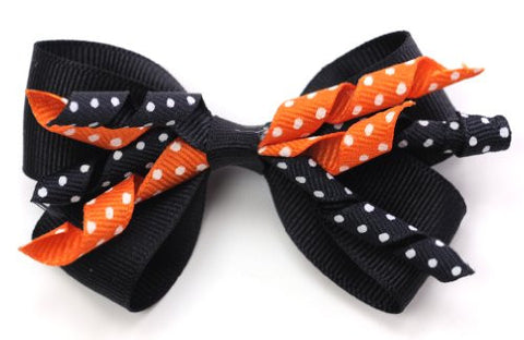 Halloween Style Dotted Ribbon Bow Handmade Hair Clips MADE IN USA BC6071-2