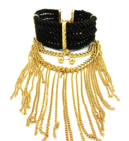 Women's Rope Collar Choker Dangling Tassel Necklace and Ball Earring Set in Gold-Tone