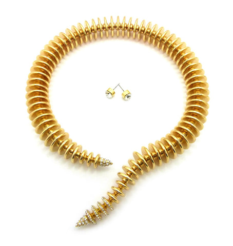 Women's Spring Coil Look Open Choker Necklace and Earring Set in Gold-Tone