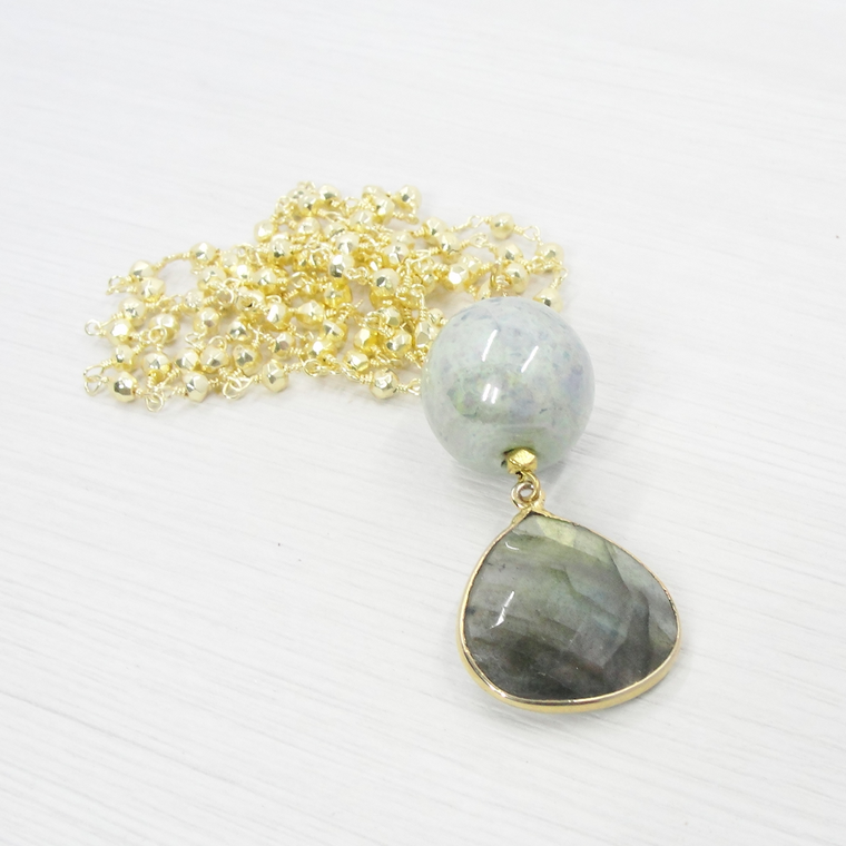 Gold & Green Labradorite Boho Pendant Necklace