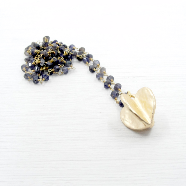Iolite & Gold Heart Pendant Necklace