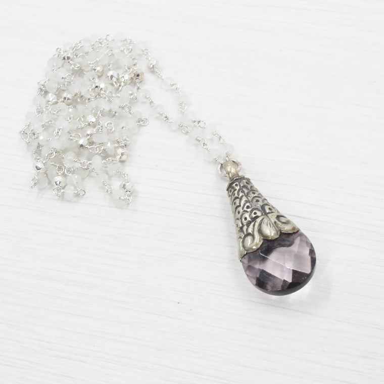 Moonstone, Pyrite & Amethyst Tibetan Pendant Necklace