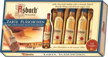 Asbach 8 Brandy Bottles in Window Box Milk Choc. 10/3.5oz