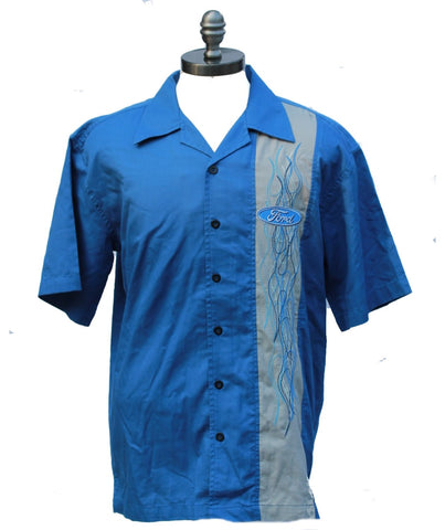 Ford flame panel shirt in blue and grey