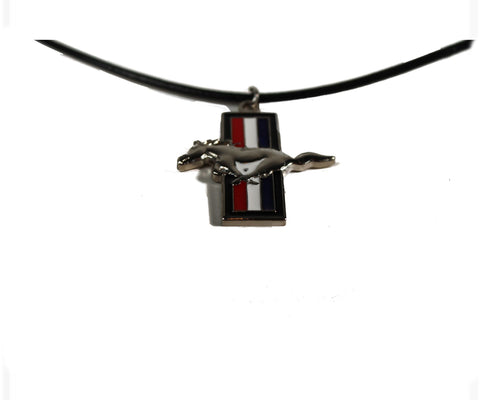 Ford Mustang leather necklace with tri bar charm