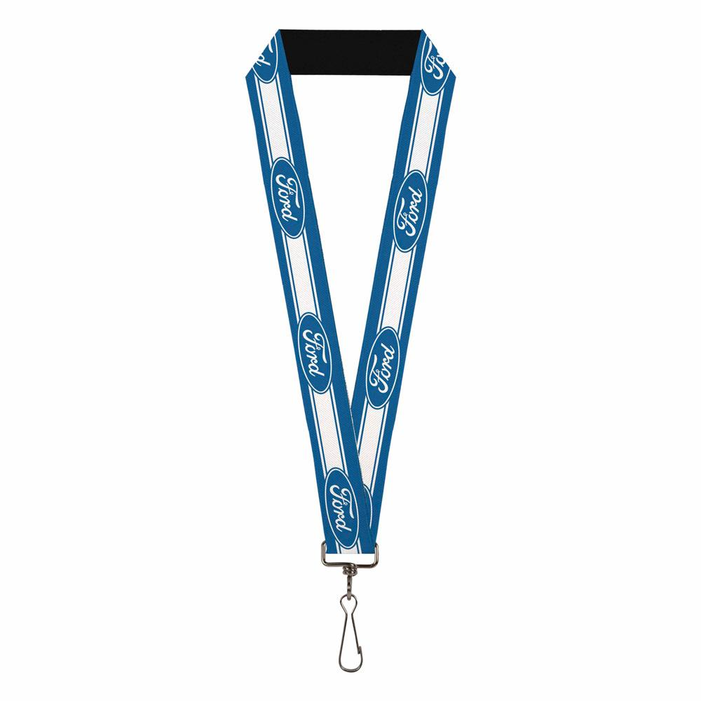 Ford blue and white elastic lanyard