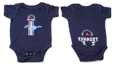 Ford Mustang infant onezie in navy blue