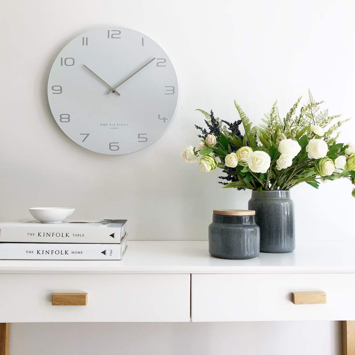 One Six Eight London Bianca Wall Clock, Grey, 40cm + GIFT
