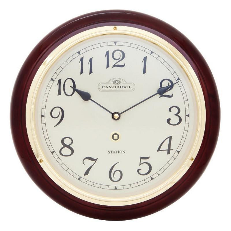 Cambridge Wooden Station Wall Clock, Arabic, Piano, Dark Brown, 29cm
