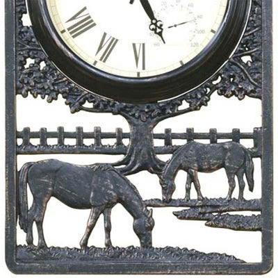 Horses Cast Aluminium Thermometer Outdoor Wall Clock Bottom 72cm CT-C28