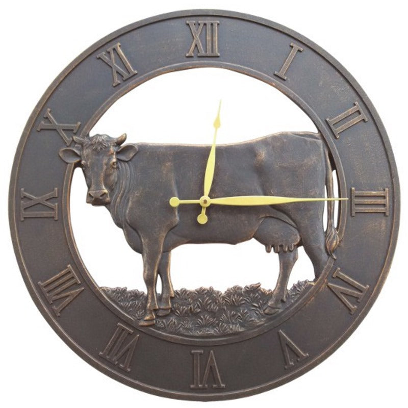 Farm Cattle Cast Aluminium Outdoor Wall Clock, 58cm