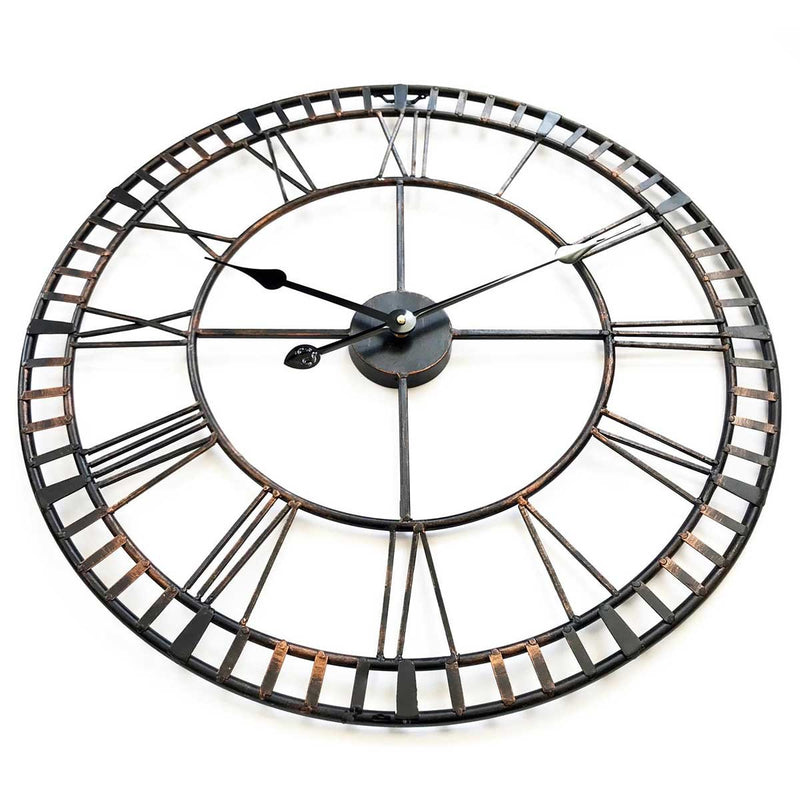 Hampton Wrought Iron Metal Black and Bronze Wall Clock, 60cm
