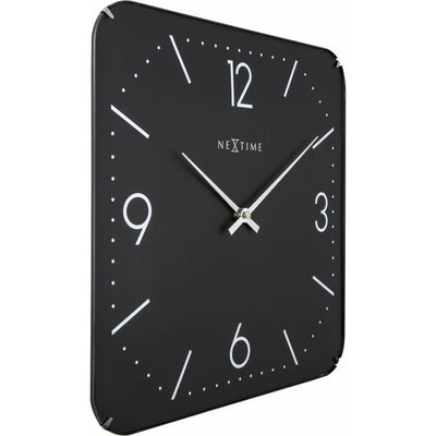 NeXtime Basic Square Glass Dome Wall Clock Black Angle 35cm 573175