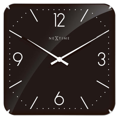 NeXtime Basic Square Glass Dome Wall Clock Black Front 35cm 573175