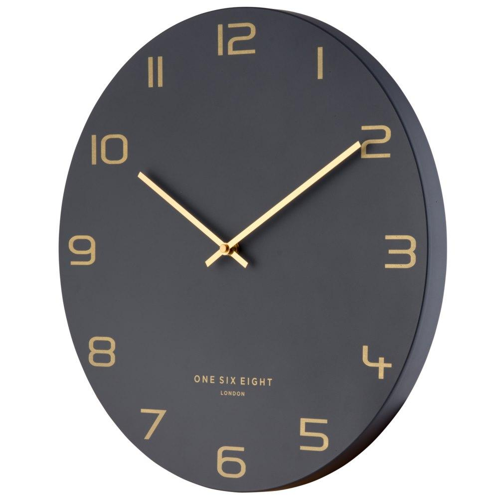 One Six Eight London Blake Wall Clock, Charcoal Grey, 60cm + GIFT