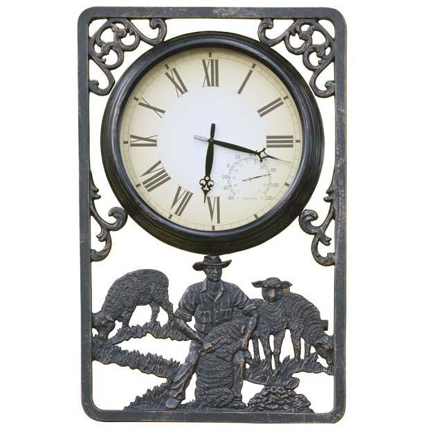 Shearing Cast Aluminium Thermometer Outdoor Wall Clock, 72cm