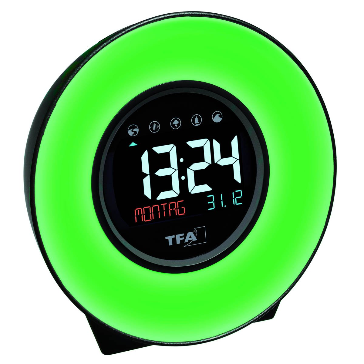 TFA Dexter Mood Light Alarm Clock, Changing Colours, 14cm
