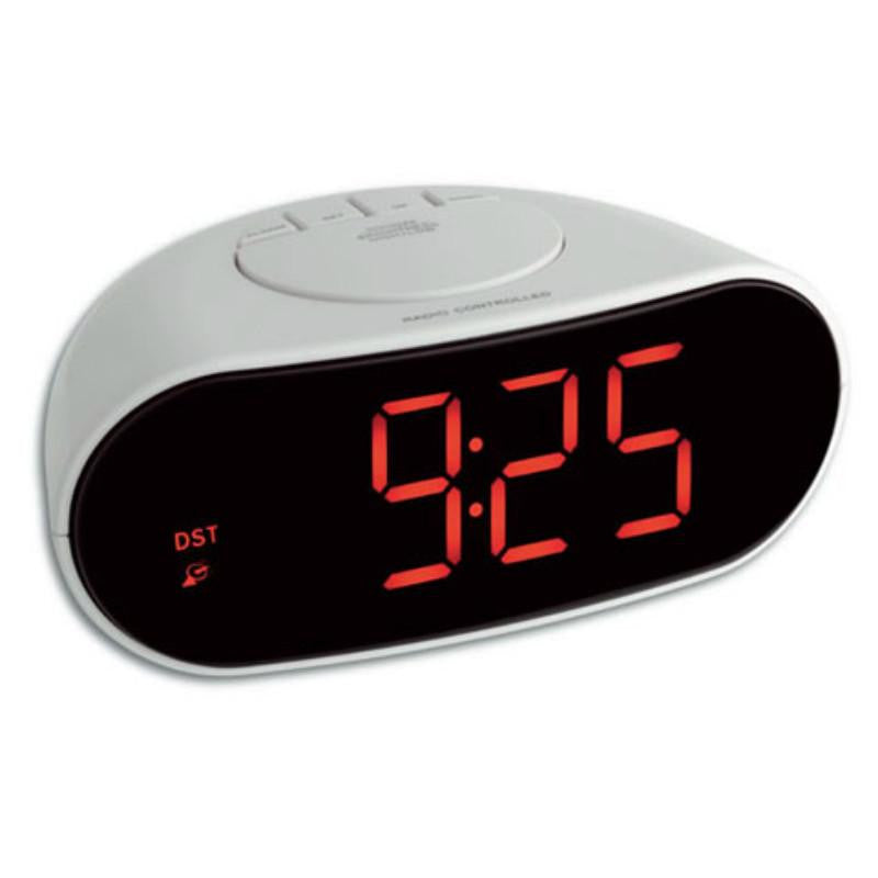 TFA LED Digital Mains Powered Alarm Clock, White, 17cm