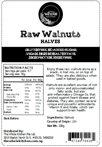 Raw Walnuts - Halves (200g)