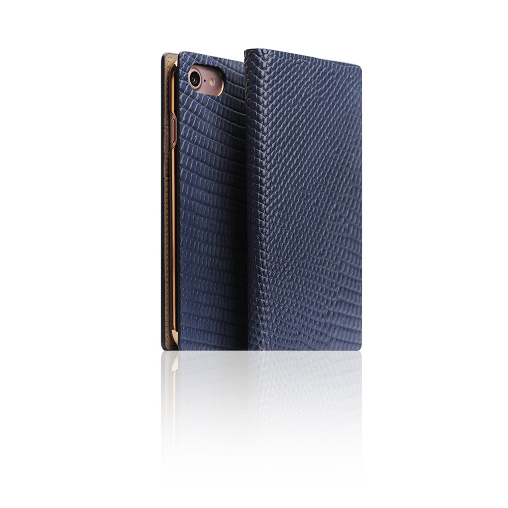 D3 Italian Lizard Leather Case for iPhone 8 / 7 Blue