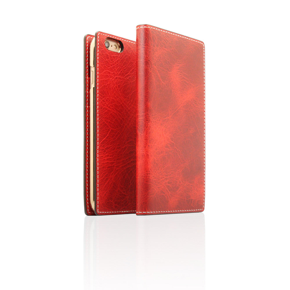 D7 Italian Wax Leather Case for iPhone 6/6s Plus Red