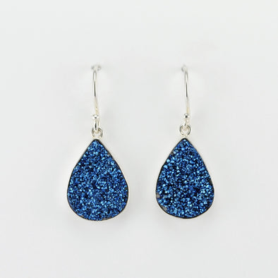 Silver Blue Druzy Agate Tear Dangle Earrings