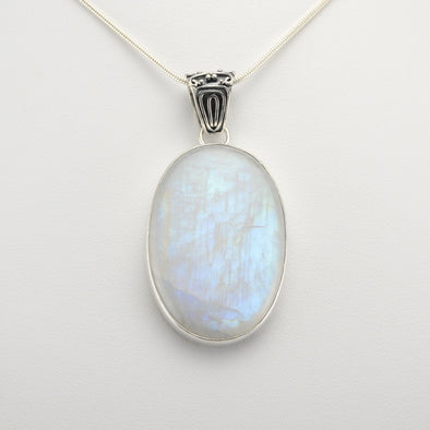 Silver Moonstone Oval Pendant