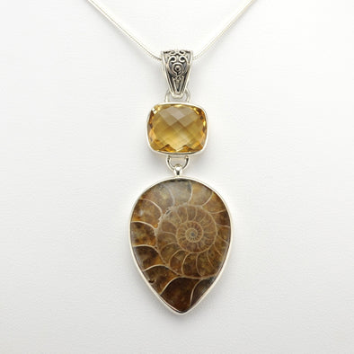 Silver Citrine Ammonite Necklace