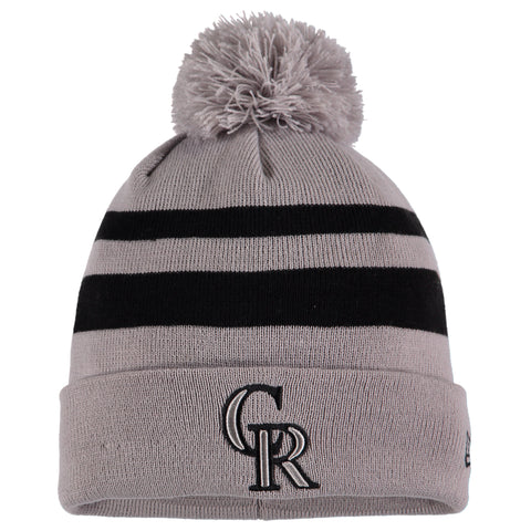 Colorado Rockies New Era Rebound Cuffed Knit Hat with Pom - Gray/Black
