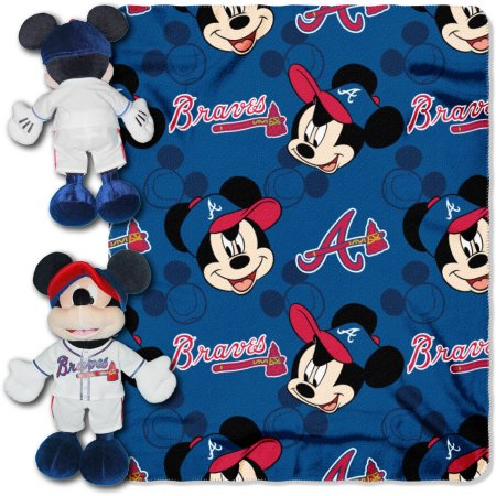"Disney MLB Atlanta Braves Pitch Crazy Hugger Pillow and 40"" x 50"" Throw Set"