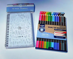 Spiral Bound Blank Write In Journal Notebook and Colored Markers Bundle
