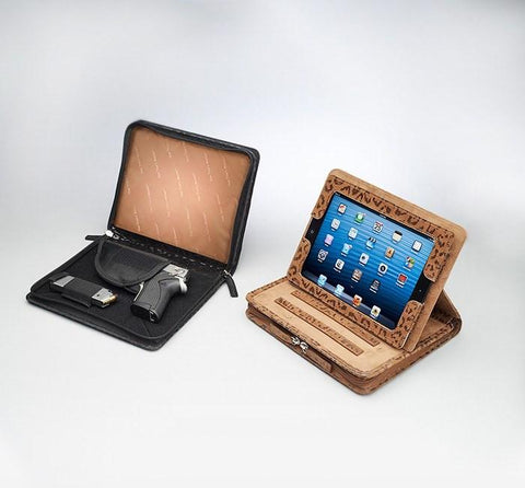 GTM-09DB Embossed Brushed Leather Leopard iPad Case - Concealed Carry Handbags - CCW Purses - GunTotenMamas