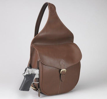 GTM-189 Concealed Carry Shoulder Saddlebag Mocha Brown - Concealed Carry Handbags - CCW Purses - GunTotenMamas