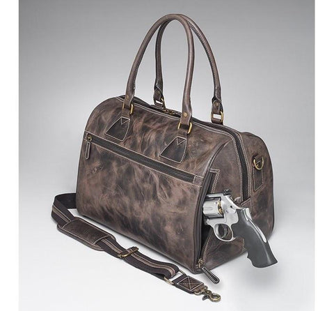 GTM/CZY-03 CCW Leather Duffel - Concealed Carry Handbags - CCW Purses - GunTotenMamas