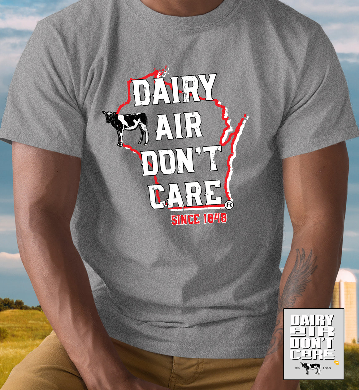 Funny Wisconsin Dairy Airy Don't Care® t-shirt