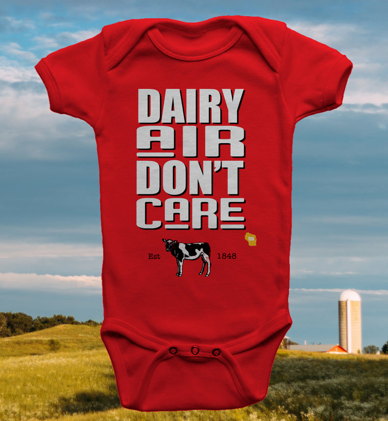 DAIRY AIR DON'T CARE WISCONSIN ONESIE