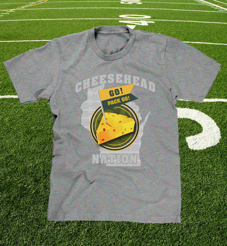 """cheesehead nation"" mens / youth t-shirt in grey"