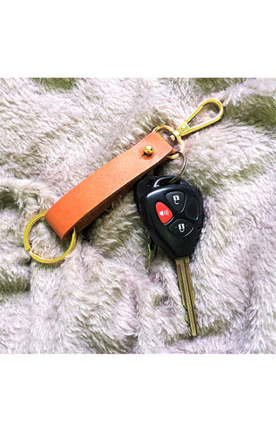 Tan Dual Key Holder in Gold