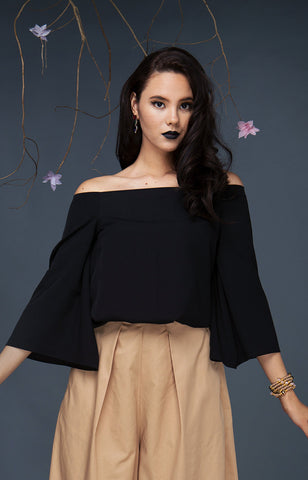 Bell Sleeve Gartered Bardot-Black