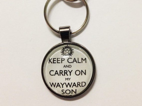 """Keep Calm And Carry On My Wayward Son"" Keychain - Keychain - Supernatural-Sickness - 1"