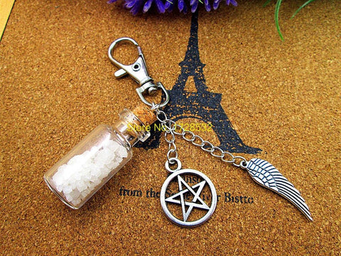 Supernatural Angel Wing Pentagram And Salt Bottle Key Chain (Free Shipping) - Keychain - Supernatural-Sickness - 1