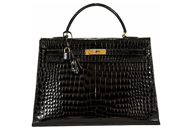 Hermès Kelly 35cm Black Crocodile & Gold