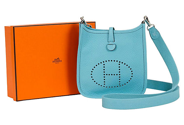 Hermès Mini Evelyne Blue Atolle