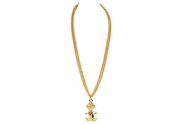 Chanel Double Necklace With Logo Charm - Chanel - Vintage Lux