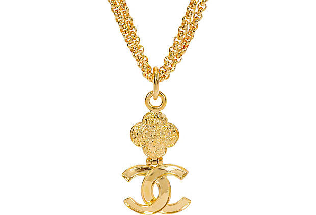 Chanel Double Necklace With Logo Charm