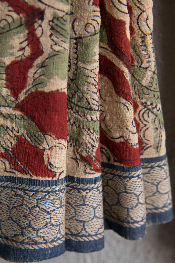Cloud and Crane Red Kalamkari Sari