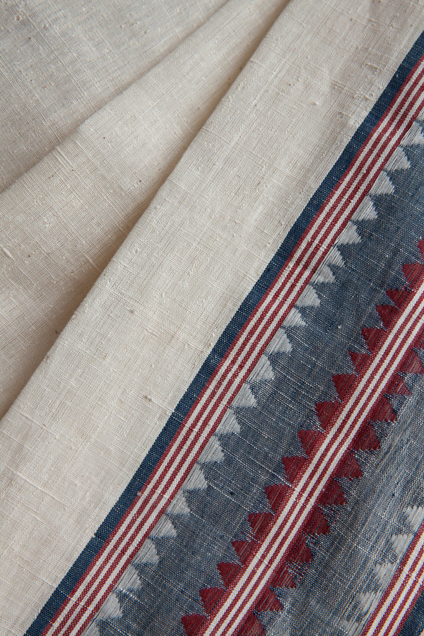 Cotton Saree with Indigo Temple Border
