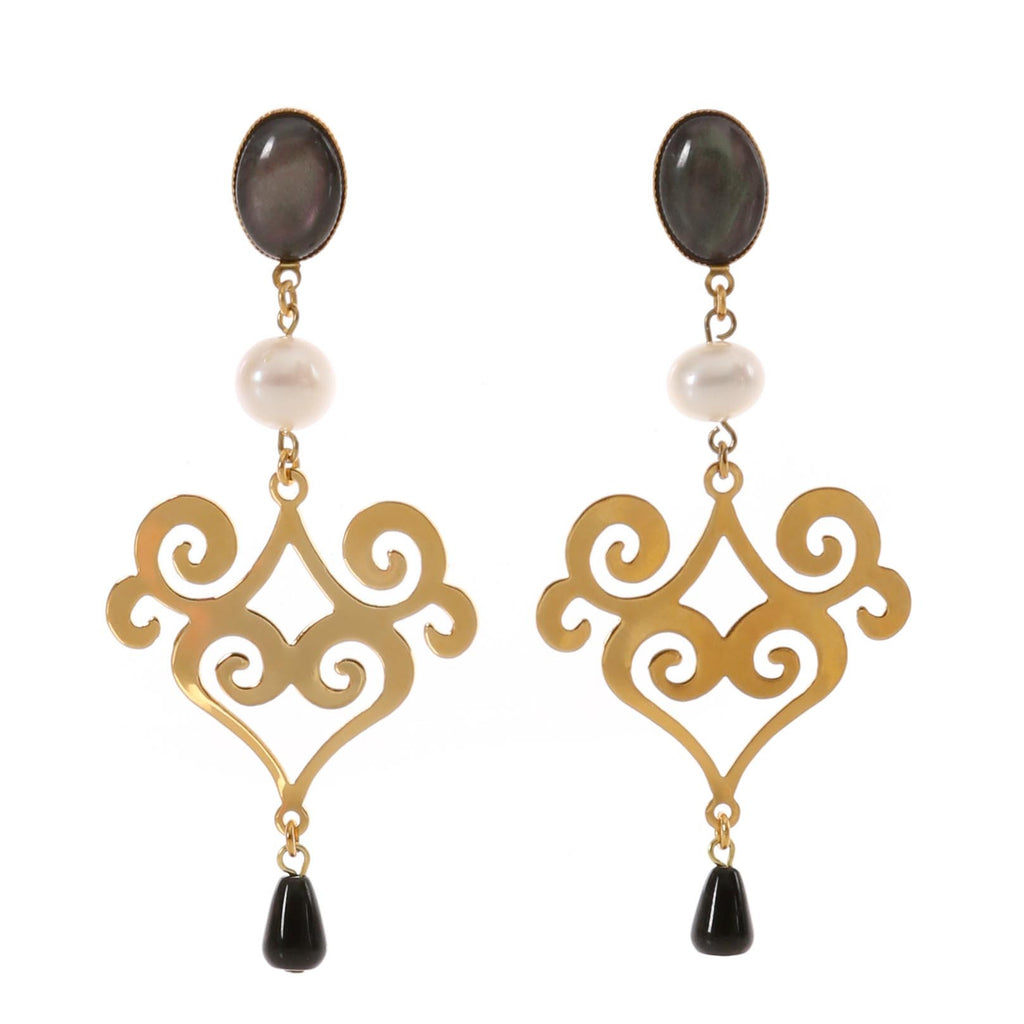ANA Earring  Gold-Plated Black Agate and Pearl